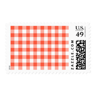 Orange And White Gingham Check Pattern Postage
