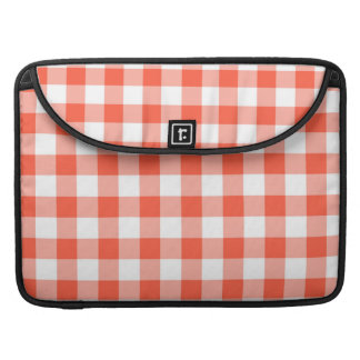 Orange And White Gingham Check Pattern Sleeve For MacBook Pro