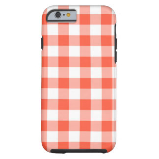 Orange And White Gingham Check Pattern Tough iPhone 6 Case