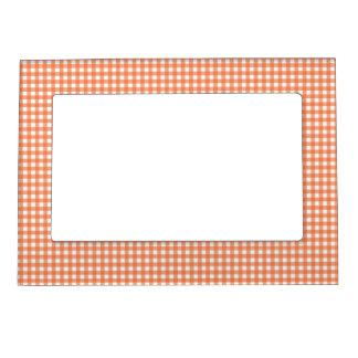 Orange and White Gingham Magnetic Photo Frame