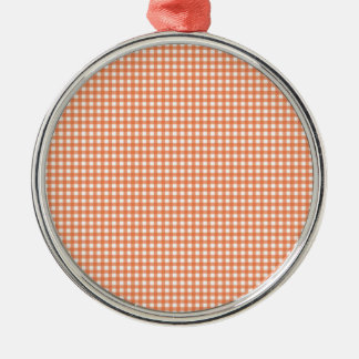 Orange and White Gingham Metal Ornament