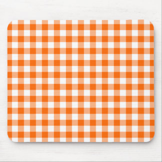 Orange and White Gingham Mouse Pad