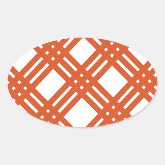 Orange and White Gingham Oval Sticker