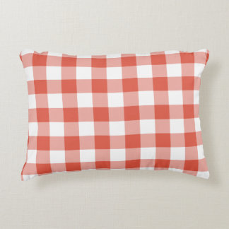 Orange and White Gingham Pattern Accent Pillow