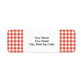 Orange and White Gingham Pattern address label