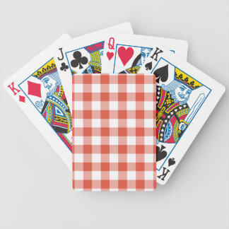 Orange and White Gingham Pattern Bicycle Playing Cards