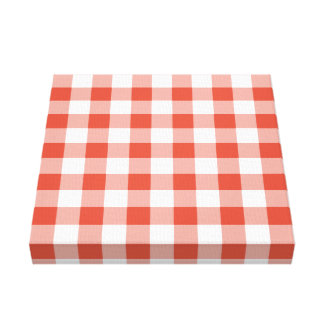 Orange and White Gingham Pattern Canvas Print
