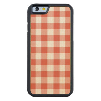 Orange and White Gingham Pattern Carved® Maple iPhone 6 Bumper Case