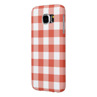 Orange and White Gingham Pattern Samsung Galaxy S6 Cases