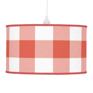 Orange and White Gingham Pattern Ceiling Lamp