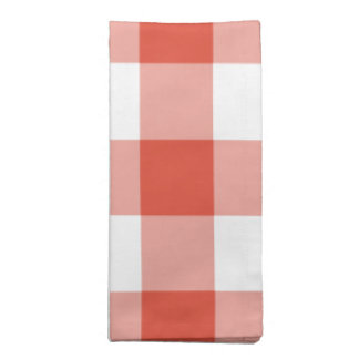 Orange and White Gingham Pattern Cloth Napkin