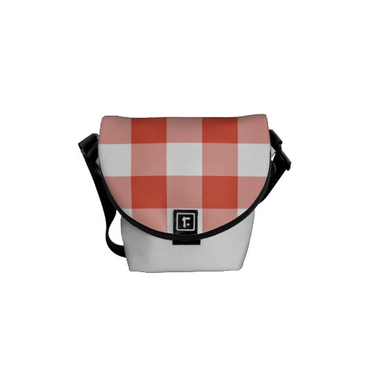 Orange and White Gingham Pattern Courier Bag