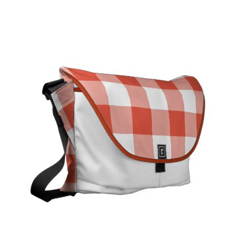 Orange and White Gingham Pattern Courier Bags