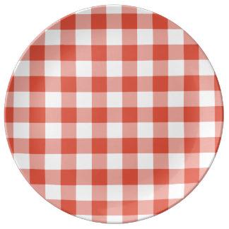 Orange and White Gingham Pattern Dinner Plate