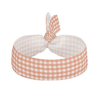Orange and White Gingham Pattern Elastic Hair Tie