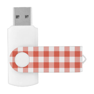 Orange and White Gingham Pattern Flash Drive