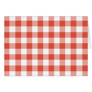 Orange and White Gingham Pattern Greeting Card