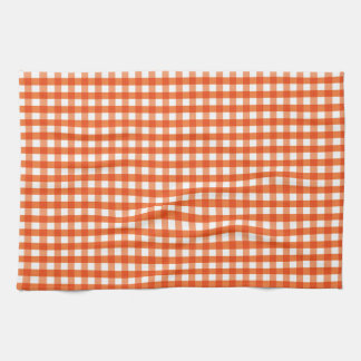 Orange and White Gingham Pattern Hand Towels