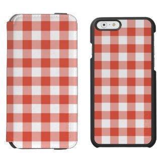 Orange and White Gingham Pattern iPhone 6/6s Wallet Case
