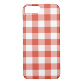 Orange and White Gingham Pattern iPhone 7 Case