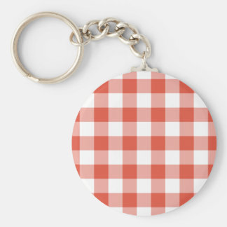 Orange and White Gingham Pattern Basic Round Button Keychain