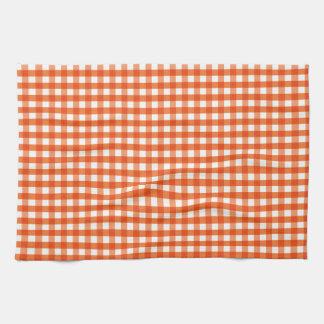 Orange and White Gingham Pattern Hand Towel