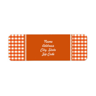 Orange and White Gingham Pattern Label