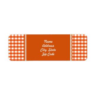Orange and White Gingham Pattern Label