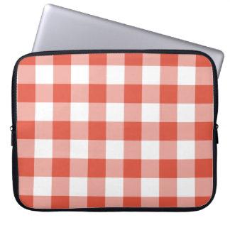 Orange and White Gingham Pattern Laptop Sleeve