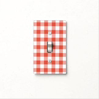 Orange and White Gingham Pattern Light Switch Cover
