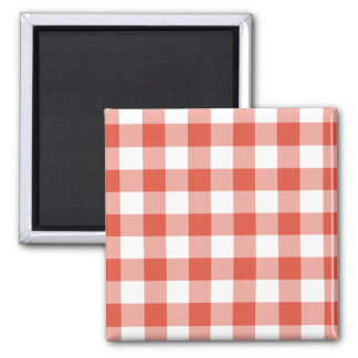 Orange and White Gingham Pattern Magnet