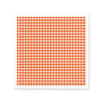 Orange and White Gingham Pattern Napkin