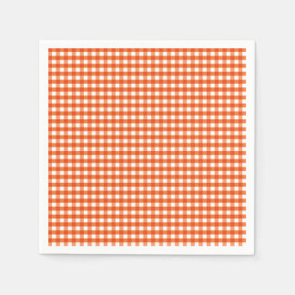 Orange and White Gingham Pattern Napkin