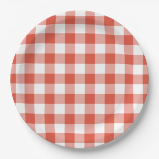 Orange and White Gingham Pattern Paper Plate