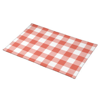 Orange and White Gingham Pattern Place Mats