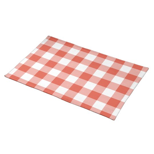 Orange and White Gingham Pattern Placemat