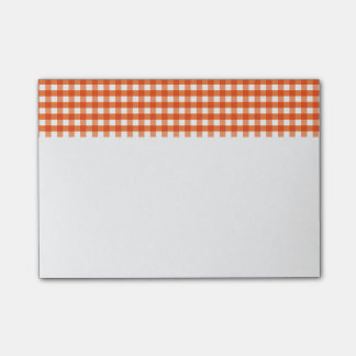 Orange and White Gingham Pattern Post-it® Notes