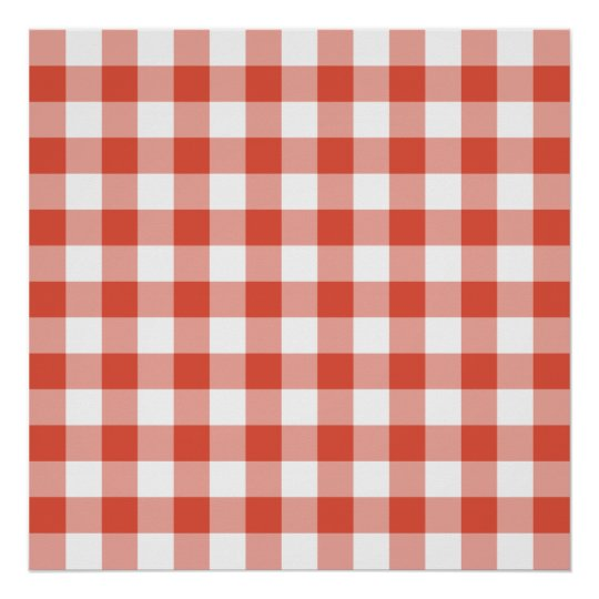 Orange and White Gingham Pattern Poster
