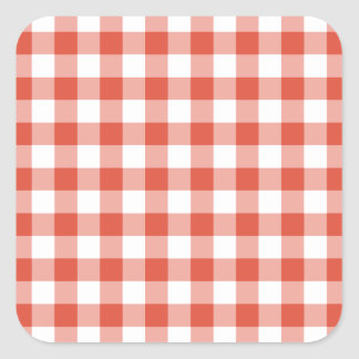 Orange and White Gingham Pattern Square Sticker