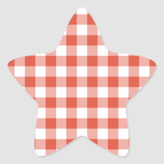 Orange and White Gingham Pattern Star Sticker