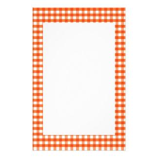 Orange and White Gingham Pattern Stationery