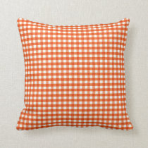 Orange and White Gingham Pattern Throw Pillow