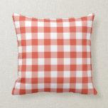 Orange and White Gingham Pattern Throw Pillows