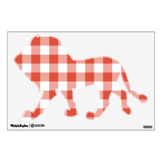 Orange and White Gingham Pattern Wall Decal