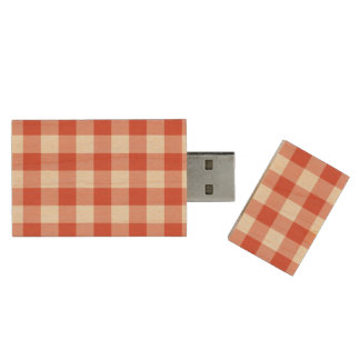 Orange and White Gingham Pattern Wood USB Flash Drive
