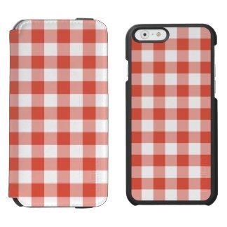 Orange and White Gingham Pattern Incipio Watson™ iPhone 6 Wallet Case