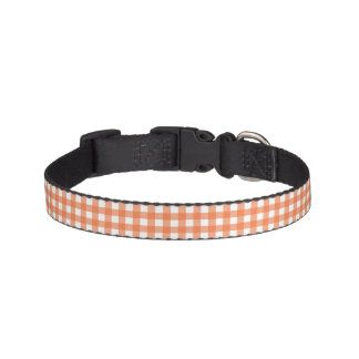 Orange and White Gingham Pet Collar