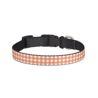 Orange and White Gingham Pet Collar