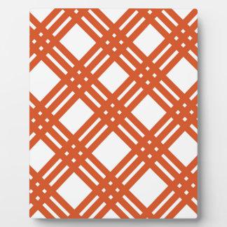 Orange and White Gingham Plaque