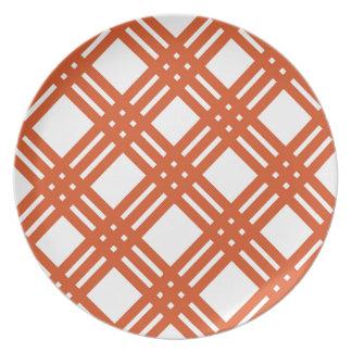 Orange and White Gingham Plate